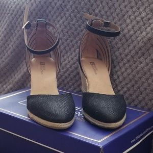 BLACK GLITTER CLOSED TOE WEDGE SANDALS
